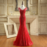 iLoveWedding New Hot Red Long Mermaid Prom Dress 2017 Sexy Zipper Back Evening Gowns Lace Appliqued Vestidos Party Dress CY015