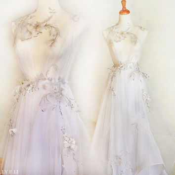 Gold collection -Flora Romantic Gold embroidery Wedding dress /Sally F.Li /Handmade gown