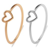 High Quality Gold Color Heart Love Shape Charm Ring Feminino Midi Toe Bague Friendship Eternal Forever Best Gift