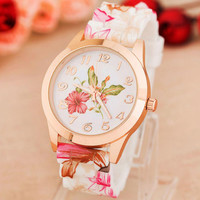 Silicone Printed Flower Causal Watch