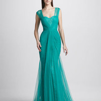 Monique Lhuillier Sheer Lace Overlay Gown