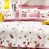 Custom King Size Pastel Pink Red  and Yellow  Floral Blossom Printed Bedding Set with Pink Sheet , Pillows and Shams