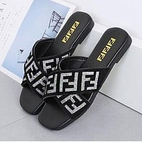 FENDI Summer Popular Women Leisure Flat Beach Sandal Slipper Shoes Black/Grey