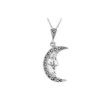 """Marcasite Necklace Man in the Moon 18"""" Chain .925 Sterling Silver"""