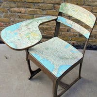 SALE - Vintage School Desk: covered with a National Geographic Map