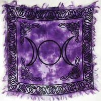 Magic Goddess Wicca Triple Moon Purple Tie Dye Altar Cloth