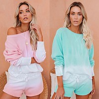 Casual loose shorts long-sleeved top two-piece sportswear home service suit gradient pink or green