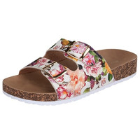 White Floral Two Buckle Sandal