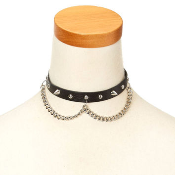 Black Faux Leather and Stud Choker Necklace