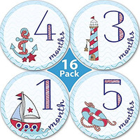 Baby Monthly Stickers For Boy, Milestones For Months 1-12, Every Month Take Pictures And Add To Scrapbook As Keepsake-To Put On Bodysuit, Bibs Or Onesuit- Best Baby Shower Gifts! With 4 Bonus Stickers