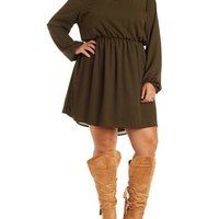 Plus Size Olive Caged-Back Chiffon Dress by Charlotte Russe