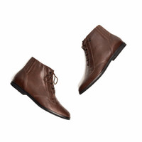Vintage Brown Leather Ankle Boots Booties - women's 8