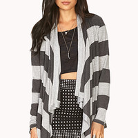 FOREVER 21 Relaxed Draped Cardigan Grey/Charcoal