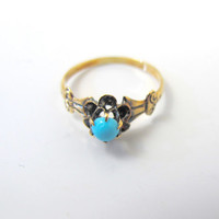 Antique Victorian Turquoise Ring, 10K Yellow Gold Turquoise Flower Solitaire, Unique Engagement Promise Ring, Size 5