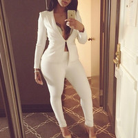 Casual Solid Color Cardigan Jacket Coat Pants Trousers Set Two-Piece