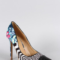 Shoe Republic Mixed Media Pointy Toe Pump Size: 7, Color: Multi