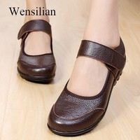 Women's Flats Genuine Leather Women Casual Shoes Summer Ballet Flats Mary Jane ladies Loafers Shoes Female Shallow Moccasins