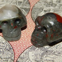 Genuine CHICKEN-BLOOD Stone SKULL - 1.2 Inch Carved Skull - Metaphysical Healing Crystals - Gemstone Collection - Skull Specimen Stone
