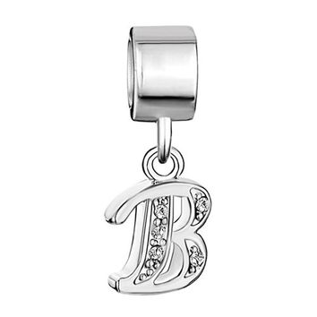 Nocary Clear Crystal Alphabet Letter B Bead For Pandora Charms Bracelet