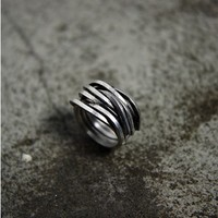 Handmade Rough Bind Silver Ring