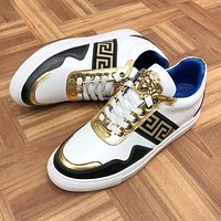 Versace New Popular Women Men Comfortable Leather Color Matching Inner Heighten Shoes White I13142-1