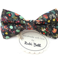 Bow Tie - floral bow tie - wedding bow tie - black bow tie with colorful flower pattern - man bow tie - men bow tie