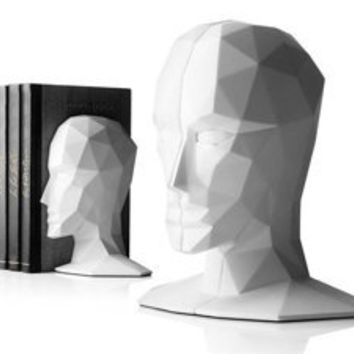 Knowledge in the Brain Bookends by Karim Rashid White [GS-40002W] - $180.00 - GSelect  - Gifts for Men. Unique, Cool Gift Ideas and Presents