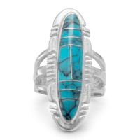 Oval Reconstituted Turquoise Ring