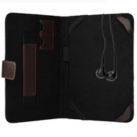 7 Inch Elegant Black and Chocolate Brown Portfolio case to fit your 7 inch Kobo Arc with two SD card Slots soft fabric to keep from scratching your screen + Universal Earbuds