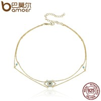 925 Sterling Silver & Gold Double Layer & Blue Eyes Clear CZ Chocker Necklaces for Women Sterling Silver Jewelry SCN160