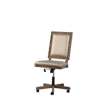 """24"""" X 22"""" X 41"""" Champagne PU Antique Gold Wood Upholstered (Seat) Executive Office Chair"""