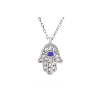 """Hamsa Necklace .925 Sterling Silver Hand of God - Evil Eye, 17"""" Chain"""