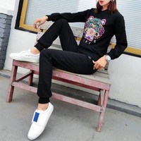 """Kenzo"" Women Casual Fashion Embroidery Multicolor Tiger Head Letter Long Sleeve Trousers Set Two-Piece Sportswear"