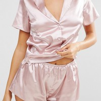 Wolf & Whistle Pink Satin Short Pajama Set at asos.com
