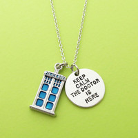 Police box, Keep calm, The doctor is here, Necklace, Doctor who, Police, Box, Doctor, Gift, Jewelry