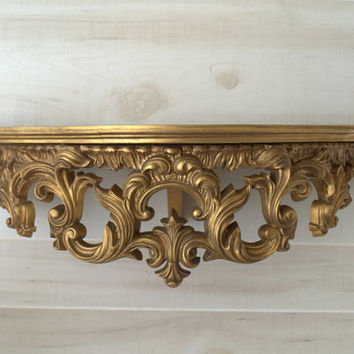 Renaissance Wall Decor, Decorative Wall Shelf, Gold Wall Shelves, Unique Wall Shelf, Elegant Gold Wall Decor