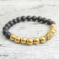 Matte black onyx beaded gold Buddha stretchy bracelet with gold plated hematite, made to order yoga bracelet, mens bracelet, womens bracelet