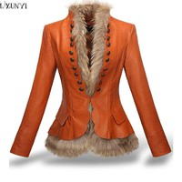 LXUNYI Winter Womens Leather Coat With Button Faux Fur jacket Fashion Short Slim Warm Faux leather jackets Women Orange Coffee