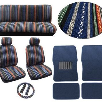 Baja Blue 12pc Car Seat Cover Set - Striped Saddle Blanket Front Low Back Bucket Seat Covers Bench - 4pc Blue Carpet Floor Mats