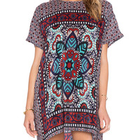 Vintage Print Short Sleeve Shift Mini Dress