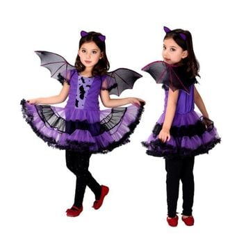 Cool Holiday Fancy Masquerade Party Batman Little purple bat female  Girl Costume Children Cosplay Dance dress up for Kids ClothingAT_93_12