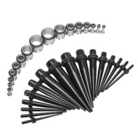 Gauge Kit 32 Pieces Black Acrylic Tapers & Stainless Steel Tunnels 12G 10G 8G 6G 4G 2G 0G 00G