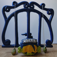 Vintage French Cast Iron Book Stand, Adjustable Blue Cook Book Stand with Citrus