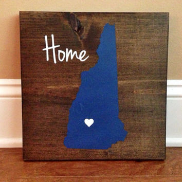 Pick Colors, New Hampshire Wood Sign, Stained Hand Painted, Personalize, New Hampshire decor