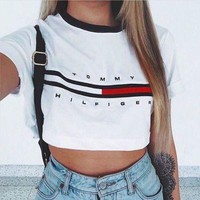 """[ On Sale ] """" Tommy Hilfiger """" Letters and Logo Print Women Cotton Crop Top Bare Midriff Women Top Short Sleeve T-Shirt _ 1882"""
