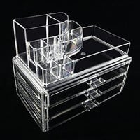 Beauty Acrylic Clear Cosmetic Holder Large 3 Drawer Jewerly Chest or Make up Case Lipstick Brush Holder