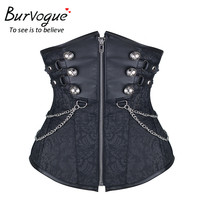 Burvogue Sexy Women Waist Control Steampunk Corset  Underbust Bustiers Close up Corset Top Retro Style Corselet