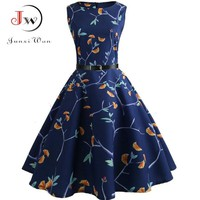 Summer Women Dress 2018 Casual Floral Elegant Retro Vintage 50s 60s Robe Femme Rockabilly Swing Pinup Vestidos Party Dresses