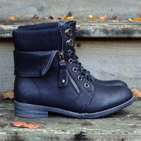 Sergeant Sassy Black Sweater Ankle Fold Over Boots