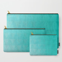 Cyan Carry All Pouch - Shades of Cyan with Triangles - Make-up Bag- Pouch- Toiletry Bag - Change Purse - Organizing Bag - Made to Order